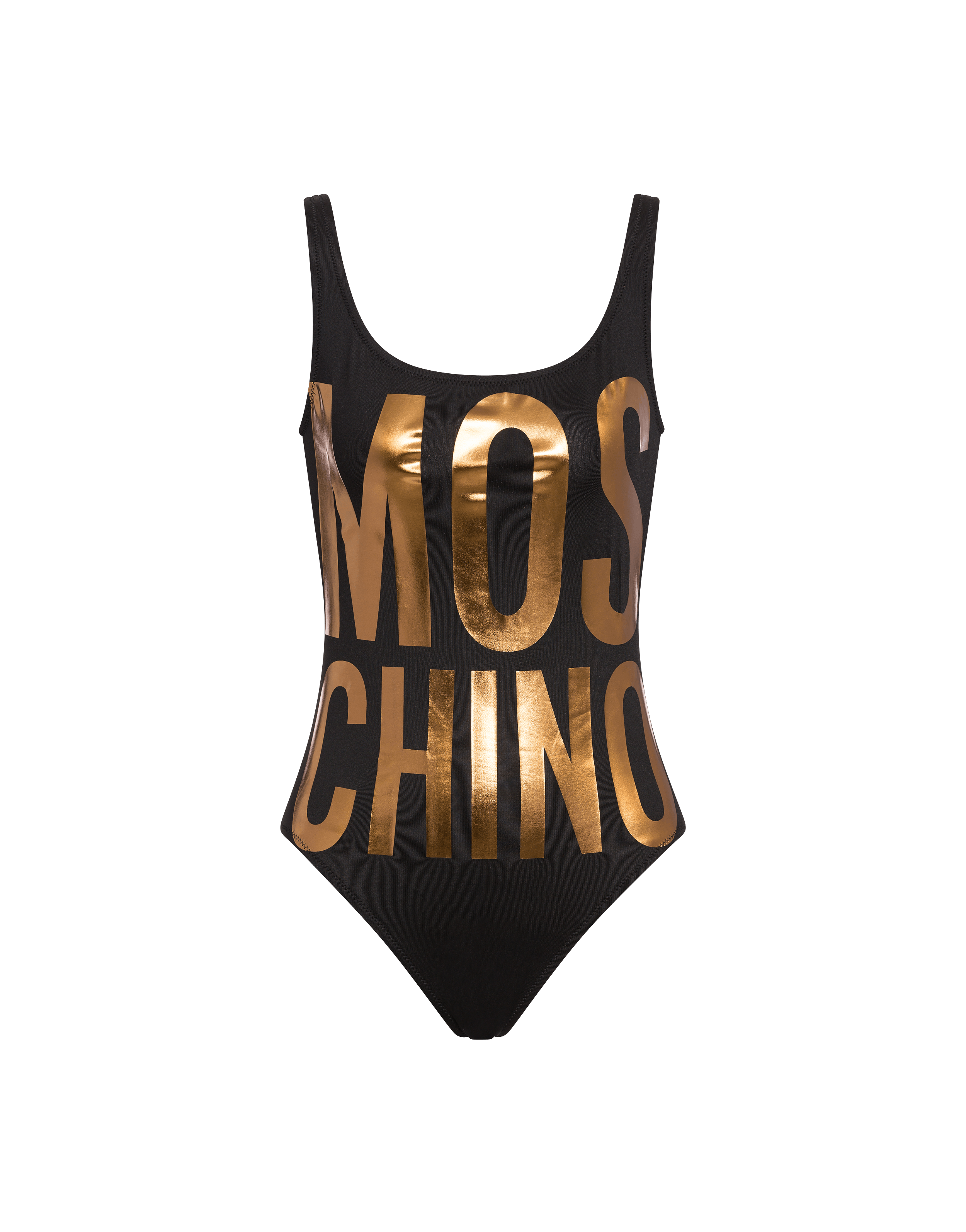 a0a8a0d57ea86b One-piece swimsuit with maxi laminated logo - Clothing - Women - Moschino