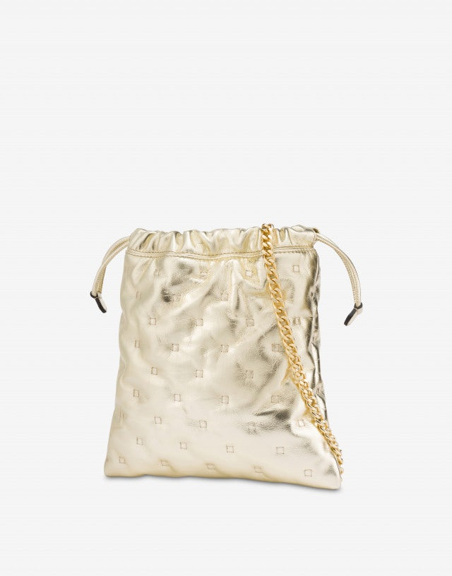Pouch bag in laminated nappa