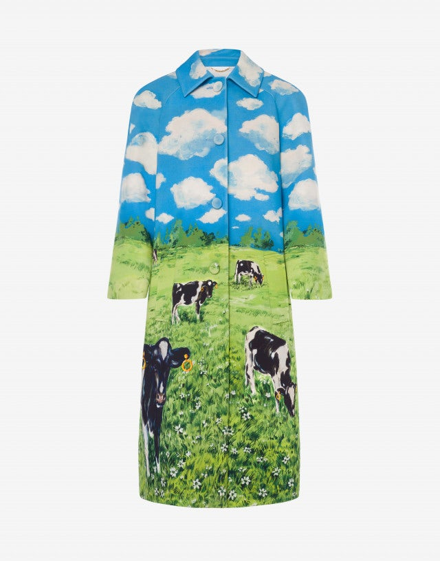 Countryside Print stretch cady coat