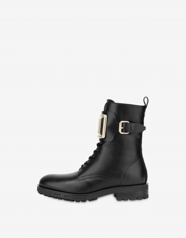 Calfskin combat boots with LM logo