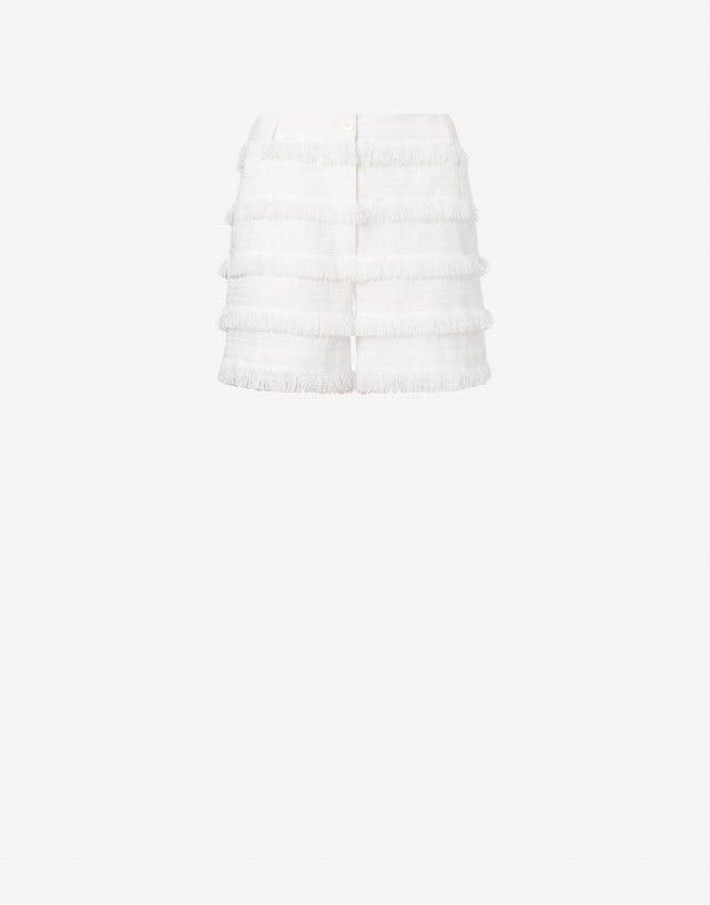 Embroidered canvas shorts with fringes