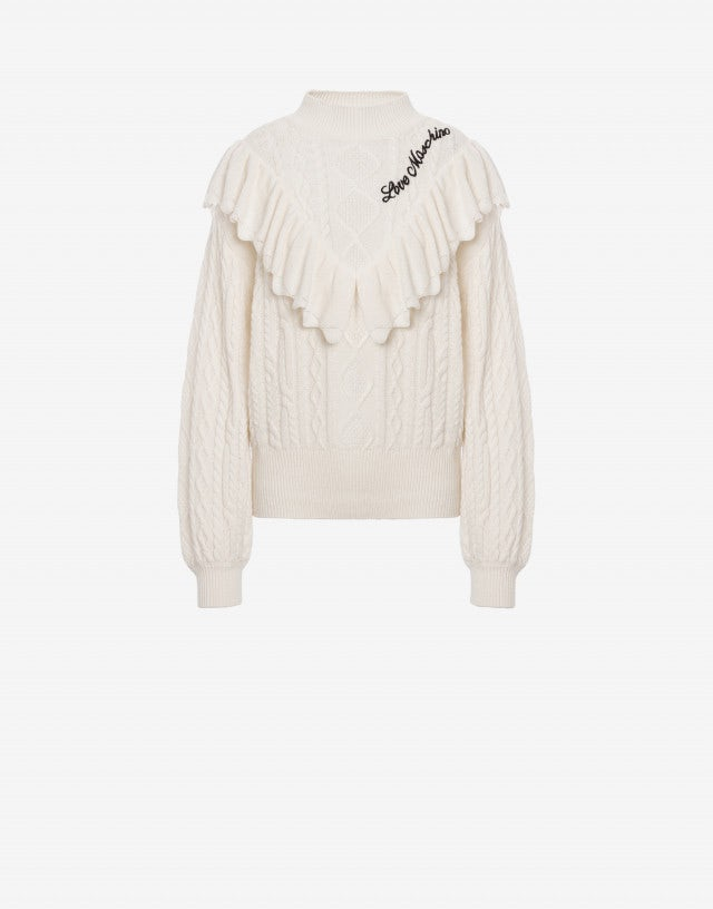 Cable knit jumper with ruffles