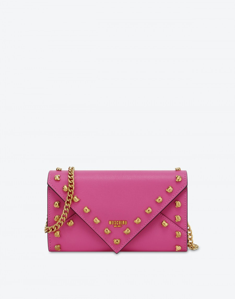 b91b98ee31 Clutch wallet with Teddy studs - Wallets and Accessories - Accessories -  Women - Moschino