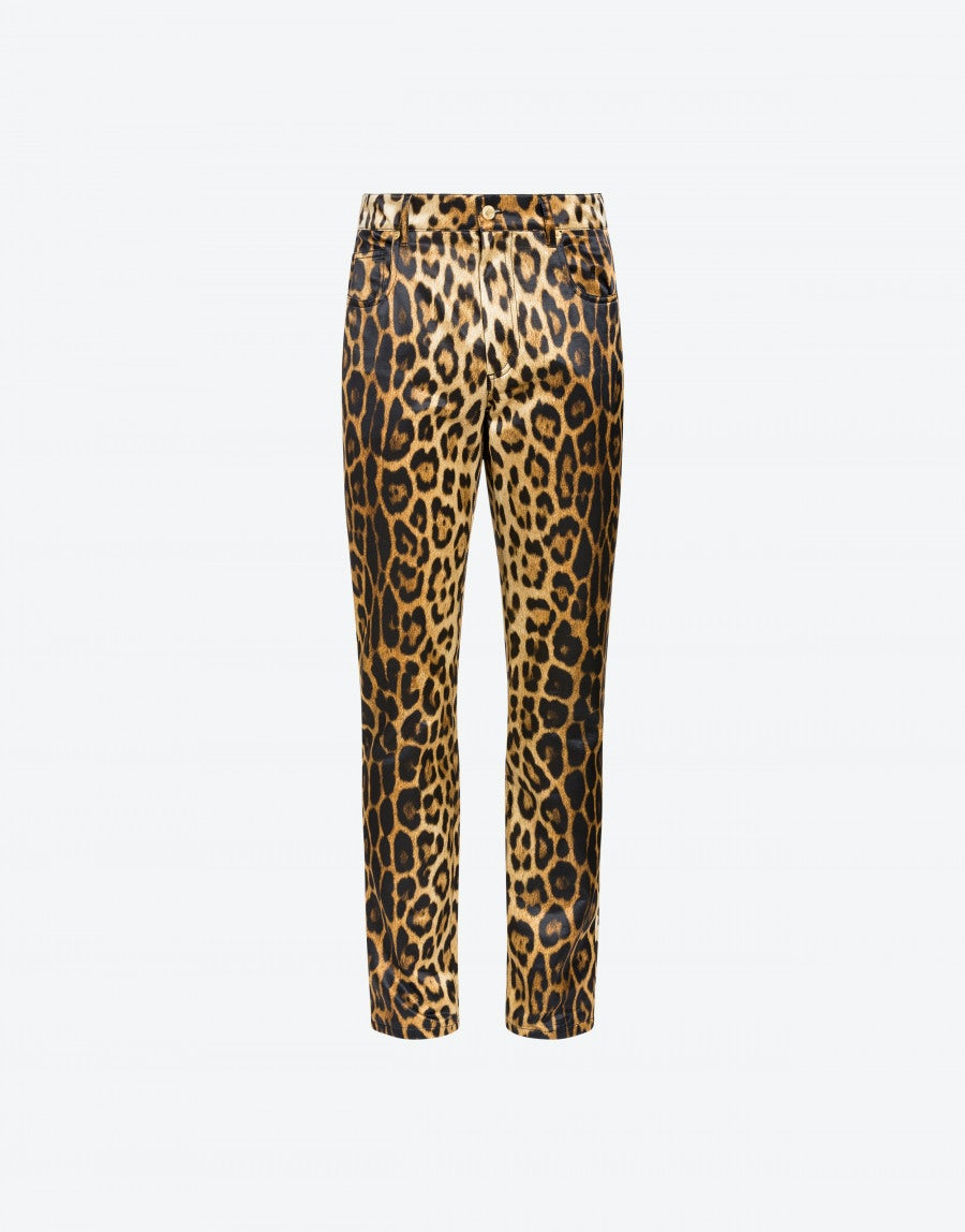 d5c82efcfcd0 Satin pants with Leopard print | Moschino Shop Online