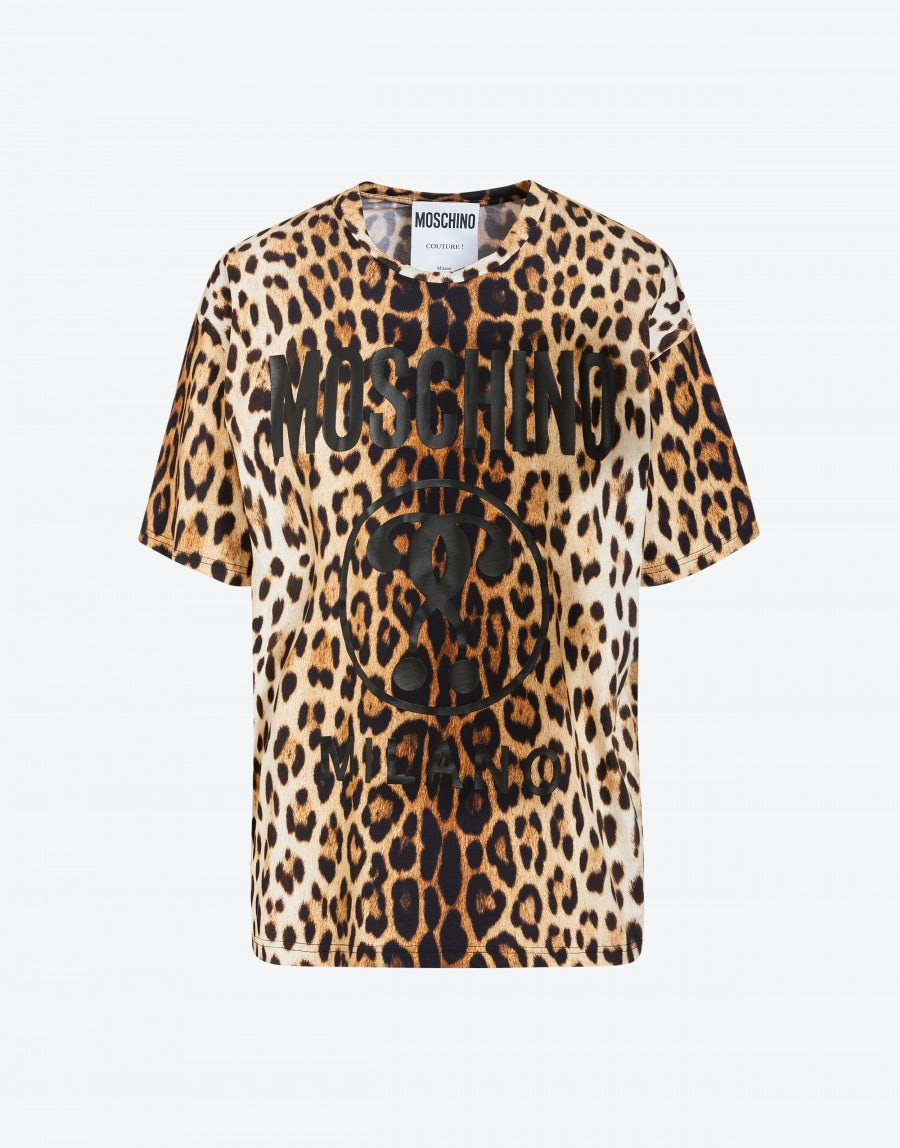 a7148ee6e Jersey t-shirt with Leopard print   Moschino Shop Online