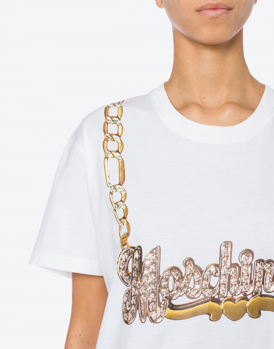 MOSCHINO Cottons Jersey T-shirt Moschino Necklace