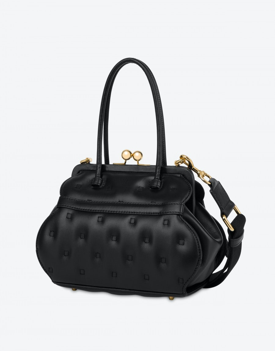 MOSCHINO Leathers NAPPA LEATHER HANDBAG QUILTING LETTERING