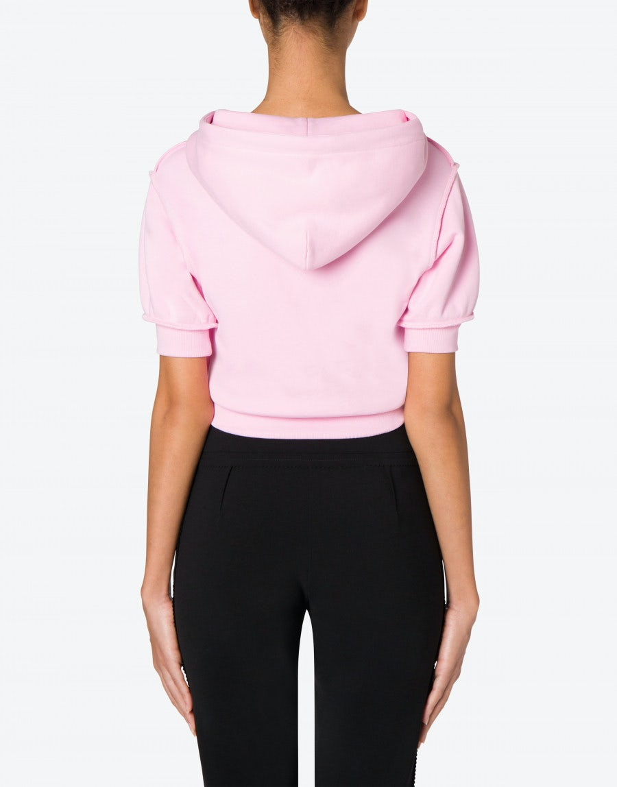 MOSCHINO Cottons CROPPED SWEATSHIRT INSIDE OUT TEDDY BEAR