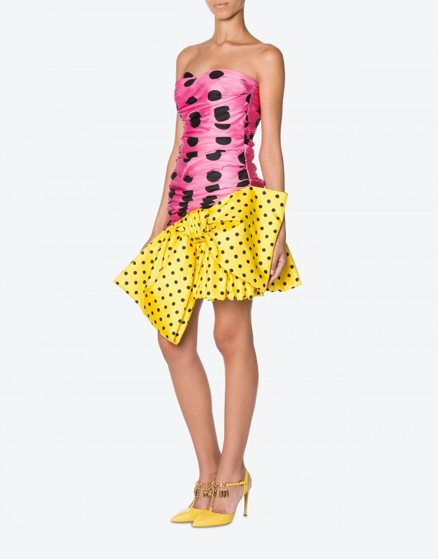 MOSCHINO Silks Silk twill dress Patchwork Polka Dots
