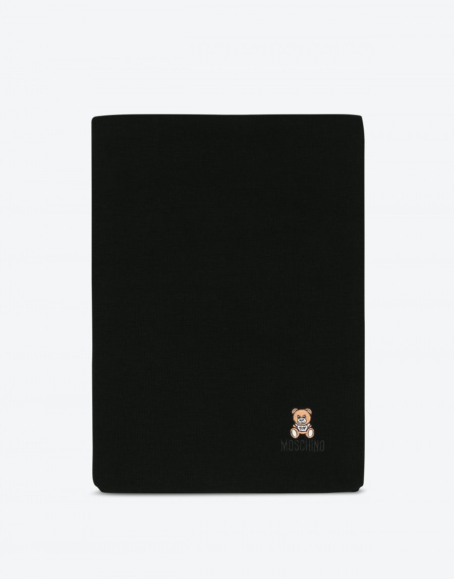 eb14aabb77 Wool scarf with Moschino Teddy Bear embroidery