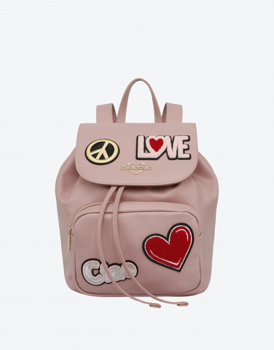5df567bcbd Faux leather backpack with patch | Moschino Shop Online