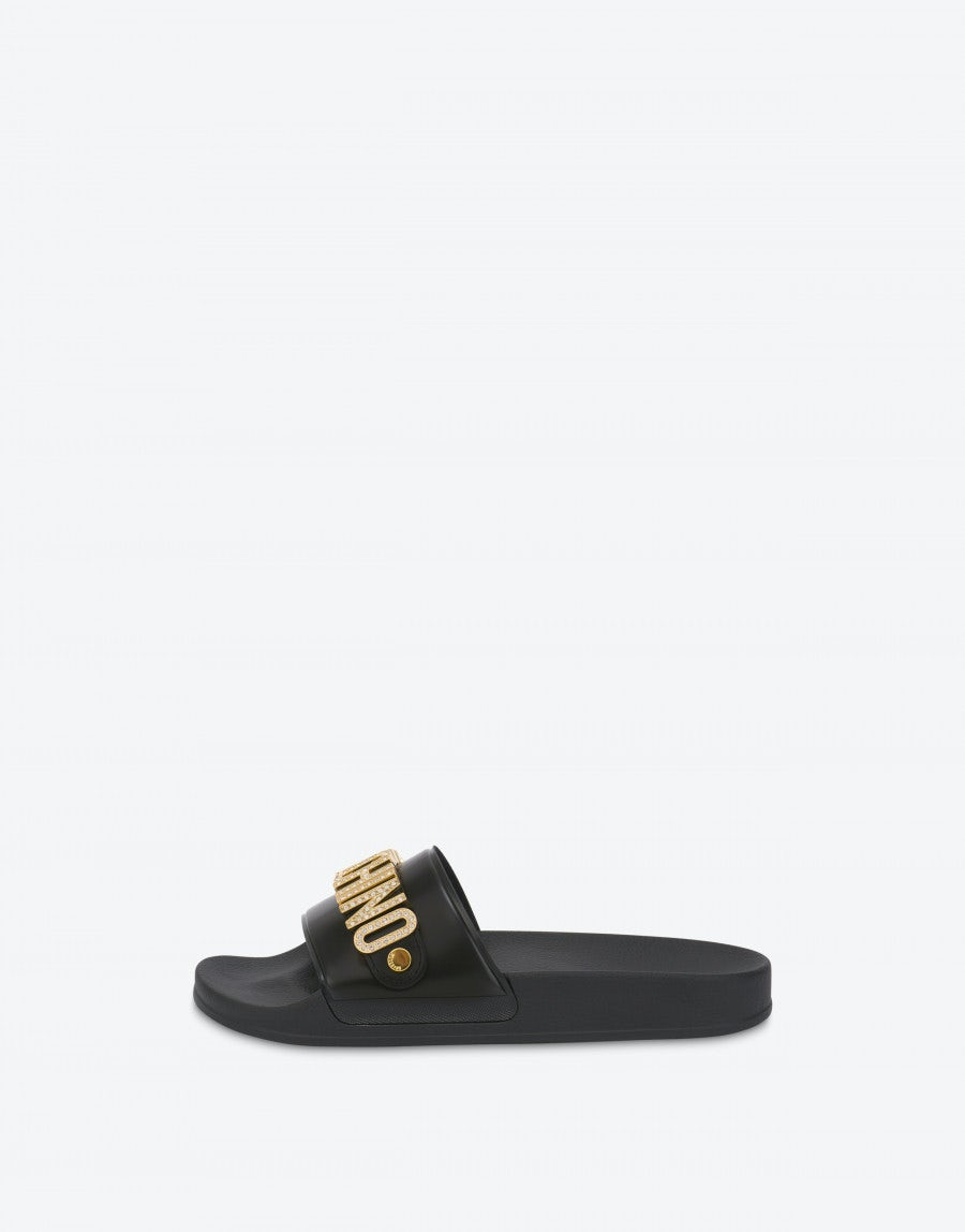 Lettering Jewel Pool slides   Moschino
