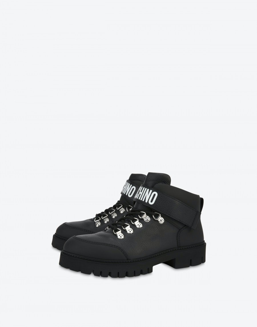 Moschino Boots Leather Trekking Boot with logo