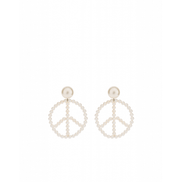 Boucles D'oreilles Peace Avec Perles - Moschino - Modalova