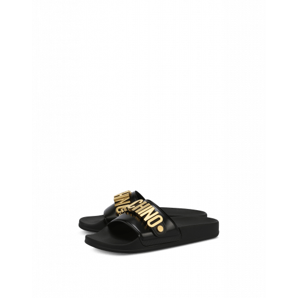 Slide Sandale En Pvc Avec Logo Lettering - Moschino - Modalova