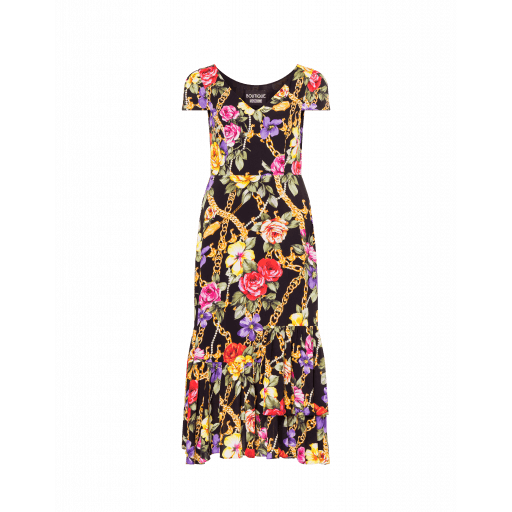 Robe En Georgette Flowers And Chains - Boutique Moschino - Modalova