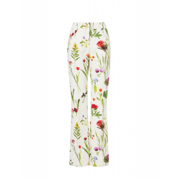 Pantalon En Drill Botanic Print - Boutique Moschino - Modalova
