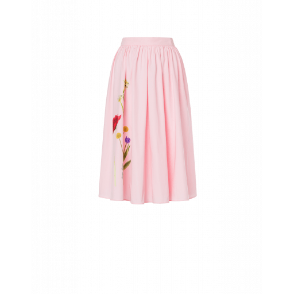 Jupe Midi En Popeline Botanic Print - Boutique Moschino - Modalova