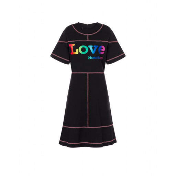Robe En Jersey Épais Rainbow Logo - Love Moschino - Modalova