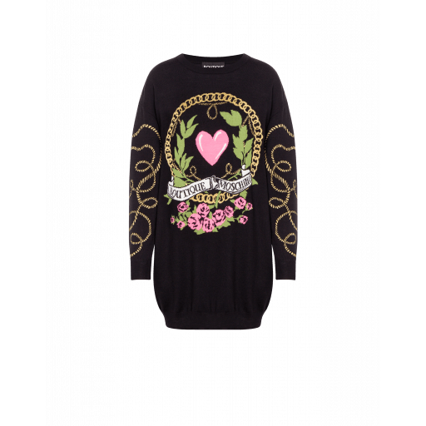 Robe En Laine Heart And Chains - Boutique Moschino - Modalova