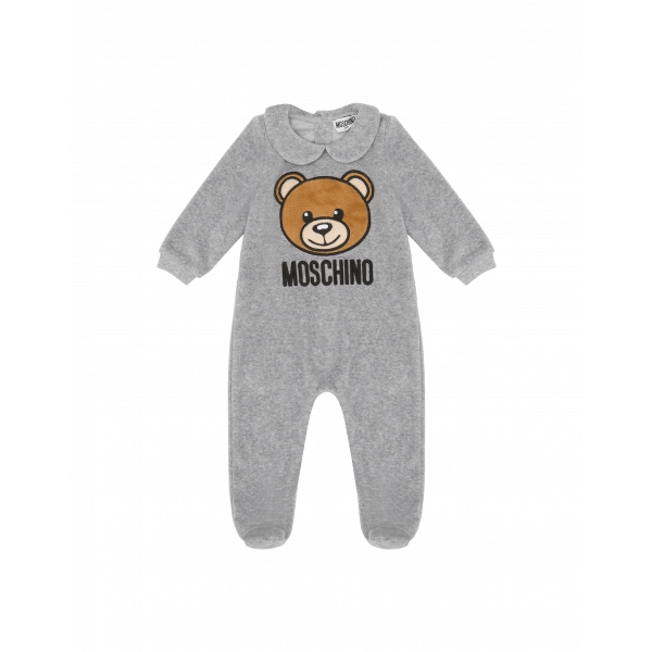 chenille-onesie-with-teddy-bear-embroidery by moschino