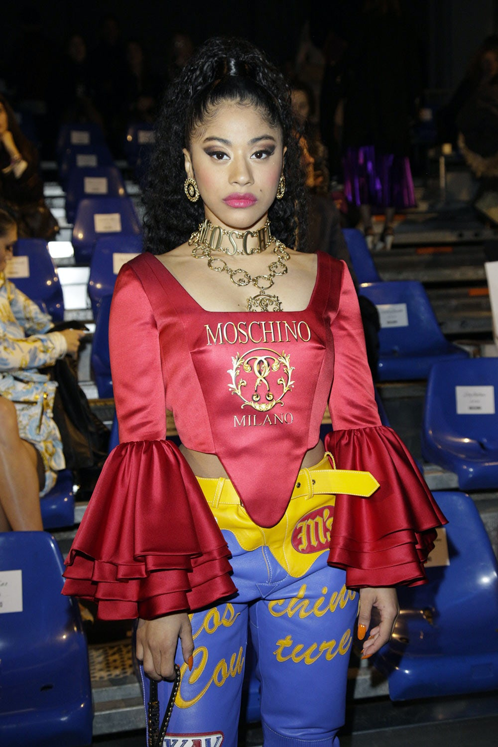 78ee8be9d5 ... Guests at the Moschino Fall Winter 2019 fashion show